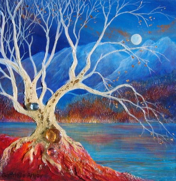 L'arbre-lune, 40 x 40 cm