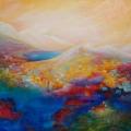 Mi en Sol ou Mi-mosas en Sol-eils, 100 x 100 cm<br />Myriades de soleils en grappes, <br> Eclats d'arc-en-ciel en guirlandes<br> Air de lumière,  joyeuse sarabande, <br> Orgie de couleurs - somptueuses agapes ...