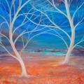 Rêverie, 100 x 100 cm<br />Chant nocturne, danse sylvestre -<br>Entre présence et absence, à l'infini<br> S'étend la beauté du monde... <br> <br> Haïku de B. Briatte :  <br>Va-et-vient du vent - Des branches calligraphes Font des arabesques