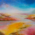 Infini indéfini, 100 x 100 cm<br />La rivière se fond dans la mer,<br> Les embruns lutinent les fleurs, <br> Salé-sucré doux-amer, <br> Quel sera notre chemin ? <br> <br>  Voici Infini Indéfini. J'avais envie de couleurs printanières, lumineuses et douces à la fois... De grands espaces aussi ... Une évocation d'une nature belle et généreuse... Une aube ou un crépuscule, mais pas la nuit... J'ai vu naître sur la toile un paysage entre terre et eau, sable, roches et fleurs, et aussi peu à peu se tracer comme un cheminement vers un horizon encore lointain mais porteur d'espoir avec sa clarté blanchâtre. Pour renforcer cette idée de progression, j'ai collé quelques petits galets de verre, prêts à poursuivre leur voyage dans l'inconnu. <br> <br>  Haïku de B.Briatte : <br> Essaim de couleurs Dans une moisson de senteurs - L'été titube