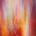 Mystère, 80 x 100 cm<br />Des profondeurs secrètes, jaillissement <br> Au centre, rythme et pulsation, déploiement<br> De vibration en vibration, mélodies et accords<br>Enfantement, enchantement, en dedans en dehors<br>Au plus profond, retour à l'origine - silence <br> Et tout recommence, subtile différence...