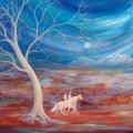 Chemin faisant, 100 x 100 cm<br />Juste pour une nuit,<br> Juste pour une vie, <br>Quel chemin - <br>Main dans la main ?  <br><br>Dans la lignée de Rêverie, j'ai tracé un immense arbre clair aux multiples nuances de couleurs, à travers lequel transparaît le ciel nocturne et la lune toute ronde. La lumière de la lune donne des reflets argentés aux lointaines montagnes enneigées qui se dressent à l'horizon, au delà d'une vaste plaine aux couleurs chatoyantes : roches, fleurs et eau...Au premier plan, à nouveau des personnages, très présents cette fois-ci, montés sur leurs chevaux palominos qui trottent allègrement.
