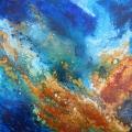 Emergence, 60 x 60 cm<br />Rocs rugueux coraux précieux,<br>Mer câline eau cristalline,<br>Tant de beauté au soleil -<br>Mon coeur frémit d'allégresse !<br><br>Haïku de B. Briatte : Terre vivante Secrets perçant les fourrés - Chaque jour s'enracine