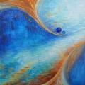 Convergence, 60 x 60 cm<br />Dans l'infini des possibles,<br>Les trajectoires narguent le hasard -<br>Vers quel avenir ?