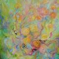 Bienvenue, 49 x 60 cm<br />Brassée de roses fraîchement écloses et rubans de satin,<br> Ruissellement de joyaux, d'or et d'argent... <br>Le coeur d'une fleur pour demeure - <br>Te plaira-t-il de t'y poser ?