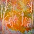 Jeux d'elfes, 40 x 80 cm<br />Dans la symphonie de la nuit,<br>Les magiciens entrelacent<br>Leurs notes de musique -<br>Les bouleaux dansent sous les étoiles.