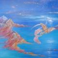 Jeux de dragons, 80 x 40 cm<br />La lune orne la nuit de nacre précieuse.<br> Tendre, la mer lèche les rivages des îles ruisselantes de pierreries. <br>Deux jeunes dragons jouent à créer des merveilles...<br>Que tes rêves soient doux, mon Aimé.