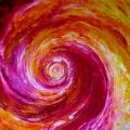 Fusion, 100 x 100 cm<br />Désirs éperdus identités perdues,<br>Yin et yang tourbillonnent -<br>Apaisement : l'amour éclot...<br>L'amour est clos ?!?