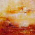 Alizarine, 50 x 50 cm<br />Entre deux eaux, entre deux mondes,<br> Comme un écho, comme un dialogue, <br> Entre ici et là-bas, entre toi et moi - <br> Le vent gonfle les voiles, es-tu prêt ?