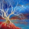 L'arbre-lune, 40 x 40 cm<br />A travers ses racines,<br>Les joyaux de la Terre,<br>Se transmutent en lumière.
