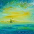 Atlantis, 60 x 60 cm<br />Ville lointaine porteuse d'espoir, <br>Sous d'autres cieux, <br>De l'autre côté du miroir...