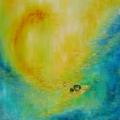 Stairways to heavens, 60 x 60 cm<br />Multiples sont les chemins : <br>Des profondeurs aquatiques à la lumière céleste, <br>Le dragon bienveillant accompagne le pèlerin...