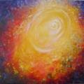 Bienveillance, 50 x 50 cm<br />Poussière d'étoile, lumière sur toile,<br> Si loin au fond des cieux, sur terre brillent tes yeux,<br>Mille couleurs qui chatoient, je rayonne à travers toi...