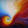 Alchimie, 60 x 49 cm<br />De l' infime à l'infini,<br>De l'invisible au manifesté -<br>Deviens qui tu es !