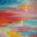 Ascension, 100 x 100 cm<br />Entre terre et ciel, entre feu et eau, <br> Corps et âme voyagent <br>Vers la lumière... <br> <br> Portée par des musique s d'Arvo Pärt, j'ai vu ce tableau évoluer d'une dynamique d'abord horizontale vers de plus en plus de verticalité et de mouvement vers le haut, pendant que les nuances de bleu gagnaient sur les rouges initiaux. J'ai accentué cette idée avec le collage de feuilles de gingko dorées et de galets de verre qui s'envolent aussi.
