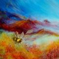 Incertitude, 80 x 40 cm<br />Souffle et ressac,<br>Temps figé dans l'ambre précieux,<br>Racines agrippées et feuilles emportées -<br>Vers quel inconnu ?