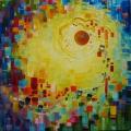 Attraction, 50 x 50 cm<br />Dans une forêt de bonbons colorés,<br>Des bulles chamarrées voguent sur un courant d'air -<br>Quel délicieux carrousel !