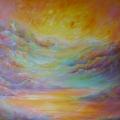 Flamboyance, 100 x 100 cm<br />Appel joyeux des trompettes, <br>Le soleil claironne son triomphe - <br>Envol de parfums colorés !