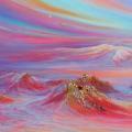 Consciences, 80 x 40 cm<br />Dans l'immensité s'élèvent les montagnes sacrées.<br>Au dessus des brumes trompeuses, <br>De sommet en sommet, la sagesse éclaire. <br>La lumière se transmet !