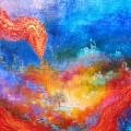 Ourobouros, 60 x 60 cm<br />J'unis l'alpha et l'omega,<br> J'exhale la poussière d'or : <br>Les mondes se forment, <br>La conscience s'érige - <br>Tu peins en abîme !
