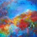 De l'autre côté du miroir, 100 x 100 cm<br />Nuit illuminée lumières reflétées,<br>L'inverse se traverse -<br>Amoureux unis, entrez dans l'éternité !