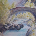 Vieux pont et eaux vives, 27 x 37 cm<br />Mille bourgeons explosent au soleil de printemps, <br> Si pure, l'eau de la rivière pétille de joie - <br> Le pont poli par les siècles s'arque de bonheur !