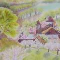 Dordogne au printemps, 32 x 23 cm<br />Vieilles pierres et tuiles moussues, château et demeures cossues... <br> Campagne longuement ouvragée, par les paysans peu à peu façonnée ... <br> Le grand chêne trône en majesté... les cerisiers embaument -  douceur et gaieté.