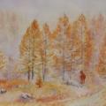 Apparition, 32 x 23 cm<br />Mélèzes cuivrés et herbe jaunie, <br> Le froid rampe entre les troncs - <br> Gracieuse, la biche nous salue.