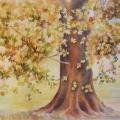Racines et feuillages, 37 x 27 cm<br />Au bord du lac  veille le platane.<br>  Se blottir entre les racines, et rêver...<br> - Kaléidoscope du feuillage aux couleurs d'automne.