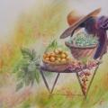 Retour du verger, 37 x 27 cm<br />Velours des amandes et parfum du figuier, <br> Succulence du raisin et miel des abricots <br> -Ivre de nectar, l'abeille titube...