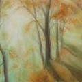 Soleil d'automne, 37 x 27 cm<br />Soleil mouillé de brume et de rosée, <br> Un promeneur matinal - <br> Les arbres jouent à cache cache. <br> <br>  Haïku de B. Briatte : Derniers feux du soleil - La flambée des hêtres Réchauffe le chemin