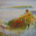 Bientôt l'hiver, 50 x 37 cm<br />Derniers rayons de soleil sur la forteresse, <br> Dernières feuilles sur le sorbier dénudé <br> - Le chamois se hâte vers la vallée.