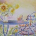 Plein été, 50 x 34 cm<br />Abricots veloutés et lavande parfumée, <br> Tournesols en brassée et chapeau enrubanné <br>- L'été s'alanguit en arabesques bleutées.