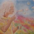 Jeux d'enfant, 51 x 36 cm<br />Haïku de B. Briatte : Bulles de savon - Y enfante-t-elle Ses rêves