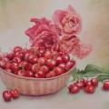 cerises et roses rouges, 27 x 37 cm<br />