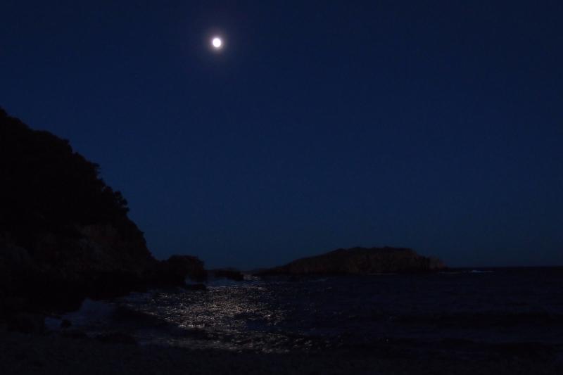 Vagues sous la pleine lune