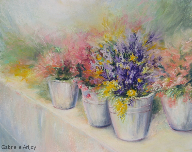 Marché aux fleurs, 40 x 30 cm