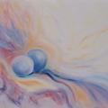Douceur, 40 x 30 cm<br />Haïku de B. Briatte : Quelles perles ! Peintres de la cascade sans pinceau